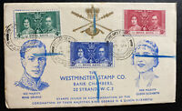 1937 Hong Kong First Day cover FDC Coronation king George VI Westminster Stamp