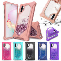 For Samsung Galaxy Note 10 Plus 360 Hybrid Quicksand Glitter Liquid Case Cover