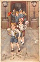 BG33524 children schulgang hannes petersen school day  nice artist signed