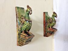 "Peacock Bracket 12"" Corbel Pair painted Parrot Wooden Sculpture Statue Home Deco"