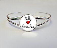 Personnalisé nom aime mamie sur un plaqué argent bracelet bangle cadeau L57