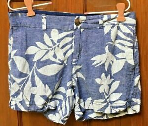 Women's Old Navy Sz 2 Zip Up Blue White Floral Linen Blend Tropical Shorts