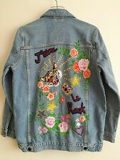 Primark floral tiger embroidered blue denim jacket UK size 8 EUR 36