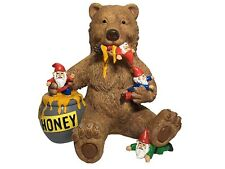 GlitZglam Miniature Bear and Gnomes with Honey - A Garden Gnome Statue for Your