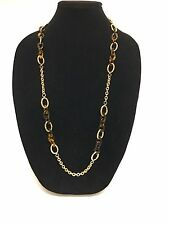 NEW RALPH LAUREN GOLD TONE,TORTOISE RESIN CHAIN LINK LONG CHARM NECKLACE