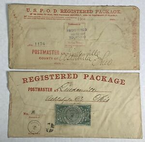 1872 USPS GREEN REGISTRY STAMP SEAL 2 Envelopes Sharon, PA, Toledo, Ohio OXF1
