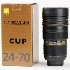 New 24-70mm Camera Lens Mug Stainless Steel Vacuum Coffee Cup Thermos Mug & Cap