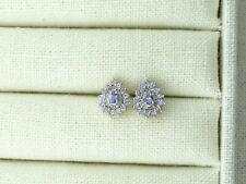 9ct Gold Tanzanite & Diamond Cluster Earrings