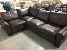 Pottery Barn Turner Leather Sofa Sectional 3 Pc Burnt Walnut Love Corner Chair