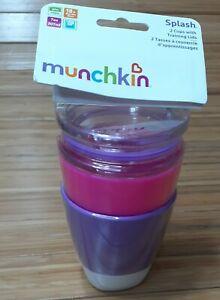 Splash Munchkin 2 Toddler Cups Training Lids Pink & Purple BPA Free Toddler 18+