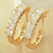 "Beautiful 9K Solid Gold Filled Emerald Cut Cubic Zirconia CZ 3/4"" Hoop Earrings"