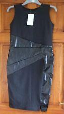 ladies black dress size 12 stretch bodycon dress faux leather trim