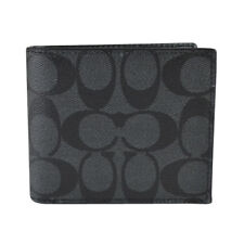 Coach F74993 Compact ID Signature PVC Canvas Leather Wallet Black 2 Billfold