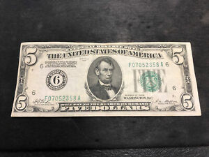 $5 1928 FEDERAL RESERVE NOTE ATLANTA GREEN -VF Note