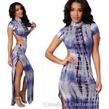 Sexy URBAN Hippy CHIC Side-Split GOWN Full Length INDIGO Tie-Die BODYCON Dress