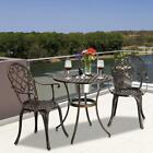 3pc Patio Bistro Furniture Set Outdoor Garden Dinner Dining Iron & Table Chair