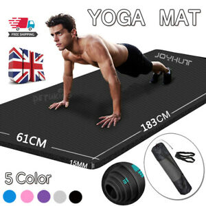 Yoga Mat 15mm Thick Gym Exercise Fitness Pilates Workout Mat Non Slip Large NBR