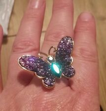 Butler and Wilson BNWT Gold Purple Lilac crystal butterfly ring Large