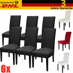 6x Stuhlhussen Stretch Baumwolle Stuhlbezug Universal Stuhlhusse Stuhlüberzug Hu
