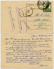POSTAL STATIONERY CARD INDIA POONA to FRANCE 1944 CROWN PASSED HS WW2 CENSORED