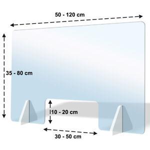 Schutzscheibe Acrylglas mit/ohne Durchreiche Spuckschutz Plexiglas Thekenaufsatz