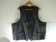 Black Real Leather Vintage Biker Vest Black Cut Sz 58 Chest 2XL 3XL Made in USA