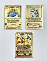 Metal Pokemon Cards Charizard Venusaur Blastoise 1st Ed. Base Set Gold Custom