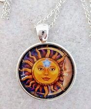 """Sun Moon Star 1"""" Cristal Colgante Collar de Plata Plateado 20"""" Cadena Hecha a Mano"""