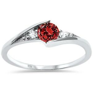 New Round Garnet Solitaire Fashion .925 Sterling Silver Ring