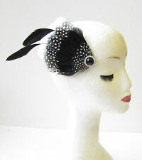 Black White Silver Feather Fascinator Hair Clip 1940s Races Vintage Ascot 1455