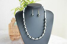 Grey & ivory glass pearl w/ flower spacer beaded fashion necklace & earrings set