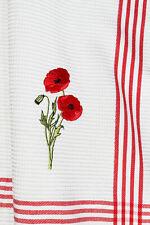 2x Geschirrtücher Mohnblume Kracht Küche Tücher bestickt Stick Blume Mohn Rot