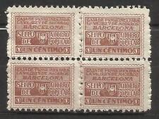 0368-BLOQUEX4 SELLO FISCAL 1930 CAJA PENSIONES VEJEZ AHORRO BARCELONA 1 CENTIMO.