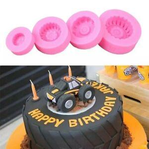 4pc Tyre Wheel Vehicle Fondant silicone Cake MouldFondant Car Bike Tractor UK