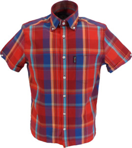 Trojan Mens Red Window Check Short Sleeved Shirts and Pocket Square