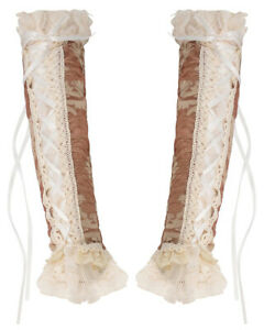 Dark In Love Womens Steampunk Armwarmer Sleeves Long Gloves Brown Off-White Lace