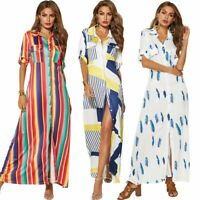 UK Womens Holiday Ladies Maxi Long Dress Short sleeve Summer Print beach dress