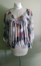 ONE WORLD LIVE AND LET LIVE Top ~BOHO Size L~NWOT BEAUTIFUL Batwing Sheer Sleeve