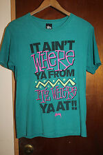 Stussy It Ain't Where Ya From It'z Where Ya At Men's Green T Shirt Size Small