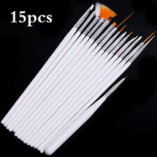 15pc Nail Art Brush set - Painting Nails - Drawing Design Polish Gel Brushes