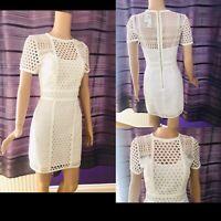 Womens H&M Crotchet Short Dress White UK 12 Short Sleeve Party/Occasion New £50