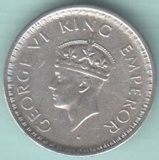 1943 British India King George VI Half rupee Mint LAHORE Large Head silver coin