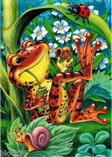 FROG HAS A GOOD WEEKEND The Snail and Ladybug nearby... Modern Russian card