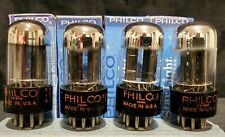 PHILCO by SYLVANIA 6SN7GTB CHROME TOPPED HALO RARE NICELY MATCHED QUAD NIB MINT