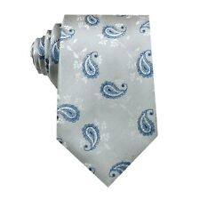 D.berite Silver Blue Paisley 100% Silk Jacquard Classic Woven Tie Necktie FS89