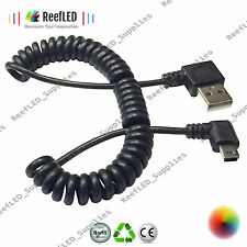 Coiled 90 Degree 1.5m Left Angle Mini USB 5 Pin Charger,Sync,Data Cable Charger
