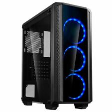 Cit Quantum Midi ATX Tower Gaming PC Case 3x Blue Ring LED Fans Tempered Glass