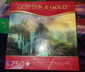 """750 Pc. Jigsaw Puzzle NEW Glitter & Gold, SEALED NEW """"Road to Oalovah"""" Beautiful"""