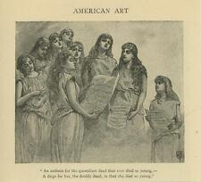 ANTIQUE GIRLS SONG MUSIC ANTHEM MOURNING SORROW YOUNG DEATH SMALL OLD ART PRINT