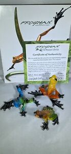 RARE MATCHED SET OF 3 FROGMAN 532/5000 BRONZE FROGS LIMITED EDITION COA 1974‼️